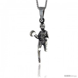 Sterling Silver Javelin Thrower Pendant, 1 1/4 in tall -Style Pa550