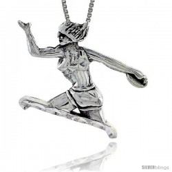 Sterling Silver Discus Thrower Pendant, 1 1/4 in tall