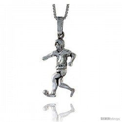 Sterling Silver Soccer Player Pendant, 1 1/4 in tall -Style Pa553