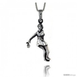 Sterling Silver Tennis Player Pendant, 1 1/4 in tall