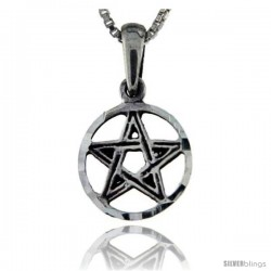 Sterling Silver 5-Point Star Pendant, 3/4 in tall -Style Pa56