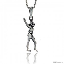 Sterling Silver Gymnast Pendant, 1 1/8 in tall