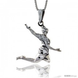 Sterling Silver Gymnast Pendant, 1 1/4 in tall