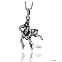 Sterling Silver Hockey Player Pendant, 1 3/8 in tall