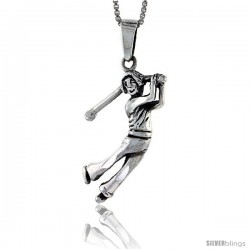Sterling Silver Lady Golfer Pendant, 1 1/4 in tall -Style Pa564
