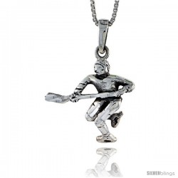 Sterling Silver Hockey Player Pendant, 1 1/8 in tall