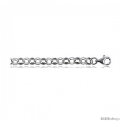 Sterling Silver Italian Rolo Chain 8mm Nickel Free. available in sizes 7, 8, in Bracelets