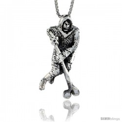 Sterling Silver Hockey Player Pendant, 1 1/2 in tall