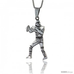 Sterling Silver Football Player Pendant, 1 1/2 in tall