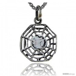 Sterling Silver Yin and yang Pendant, 3/4 in tall