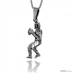 Sterling Silver Football Player Pendant, 1 3/8 in tall