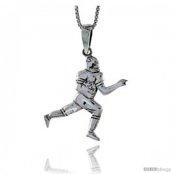 Sterling Silver Football Player Pendant, 1 1/4 in tall -Style Pa571