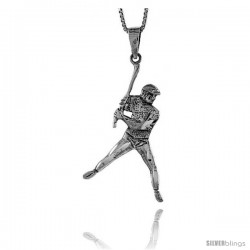 Sterling Silver Baseball Pendant, 1 3/4 in tall