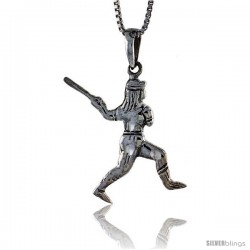 Sterling Silver Baseball Pendant, 1 1/4 in tall