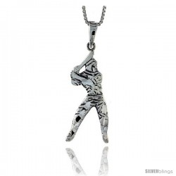 Sterling Silver Baseball Pendant, 1 3/4 in tall -Style Pa574