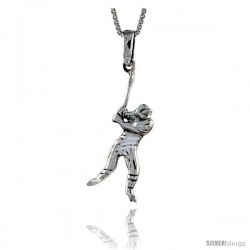 Sterling Silver Baseball Pendant, 1 1/2 in tall