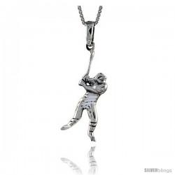 Sterling Silver Baseball Pendant, 1 1/2 in tall