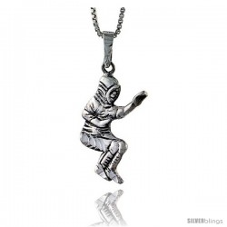 Sterling Silver Baseball Pendant, 1 1/2 in tall -Style Pa576