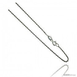Sterling Silver Italian 1.1 mm Rope Chain Necklace Diamond Cut Diamond cut Nickel Free.