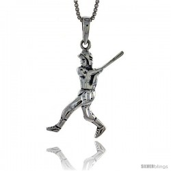 Sterling Silver Baseball Pendant, 1 1/2 in tall -Style Pa577