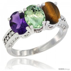 14K White Gold Natural Amethyst, Green Amethyst & Tiger Eye Ring 3-Stone 7x5 mm Oval Diamond Accent