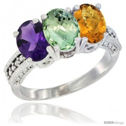 14K White Gold Natural Amethyst, Green Amethyst & Whisky Quartz Ring 3-Stone 7x5 mm Oval Diamond Accent