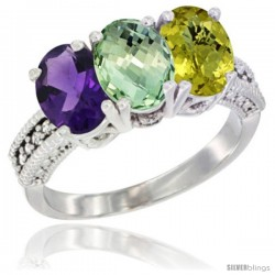 14K White Gold Natural Amethyst, Green Amethyst & Lemon Quartz Ring 3-Stone 7x5 mm Oval Diamond Accent