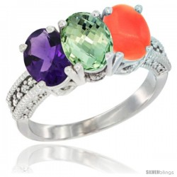 14K White Gold Natural Amethyst, Green Amethyst & Coral Ring 3-Stone 7x5 mm Oval Diamond Accent