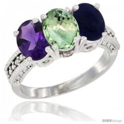 14K White Gold Natural Amethyst, Green Amethyst & Lapis Ring 3-Stone 7x5 mm Oval Diamond Accent