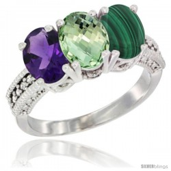 14K White Gold Natural Amethyst, Green Amethyst & Malachite Ring 3-Stone 7x5 mm Oval Diamond Accent