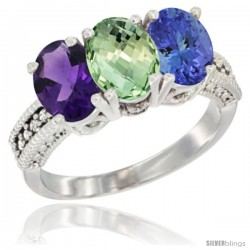 14K White Gold Natural Amethyst, Green Amethyst & Tanzanite Ring 3-Stone 7x5 mm Oval Diamond Accent