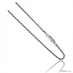 Sterling Silver Italian 1.4 mm Rope Chain Necklace Diamond Cut Diamond cut Nickel Free.