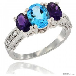 14k White Gold Ladies Oval Natural Swiss Blue Topaz 3-Stone Ring with Amethyst Sides Diamond Accent