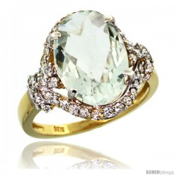 14k Gold Natural Green Amethyst Ring Oval 14x10 Diamond Halo, 3/4 in wide