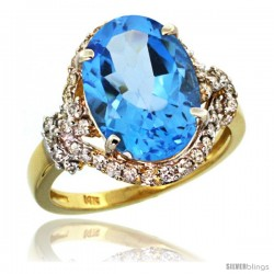 14k Gold Natural Swiss Blue Topaz Ring Oval 14x10 Diamond Halo, 3/4 in wide