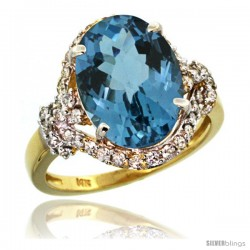 14k Gold Natural London Blue Topaz Ring Oval 14x10 Diamond Halo, 3/4 in wide