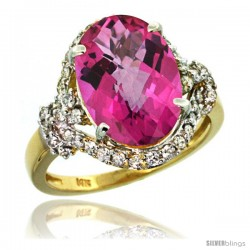 14k Gold Natural Pink Topaz Ring Oval 14x10 Diamond Halo, 3/4 in wide