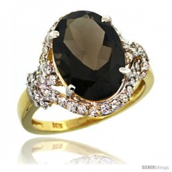 14k Gold Natural Smoky Topaz Ring Oval 14x10 Diamond Halo, 3/4 in wide