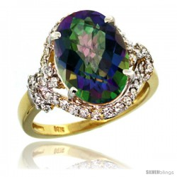 14k Gold Natural Mystic Topaz Ring Oval 14x10 Diamond Halo, 3/4 in wide
