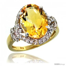 14k Gold Natural Citrine Ring Oval 14x10 Diamond Halo, 3/4 in wide