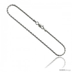 Sterling Silver Italian Rope Chain Necklaces & Bracelets 1.8 mm Diamond cut Nickel Free