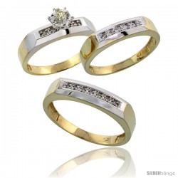 Gold Plated Sterling Silver Diamond Trio Wedding Ring Set His 5mm & Hers 4.5mm -Style Agy109w3