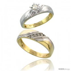 Gold Plated Sterling Silver 2-Piece Diamond Wedding Engagement Ring Set for Him & Her, 4.5mm & 6mm wide