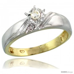 Gold Plated Sterling Silver Diamond Engagement Ring, 3/16 in wide -Style Agy110er