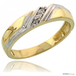 Gold Plated Sterling Silver Ladies Diamond Wedding Band, 3/16 in wide -Style Agy110lb