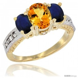 10K Yellow Gold Ladies Oval Natural Citrine 3-Stone Ring with Blue Sapphire Sides Diamond Accent