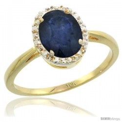 10k Yellow Gold Blue Sapphire Diamond Halo Ring 1.17 Carat 8X6 mm Oval Shape, 1/2 in wide