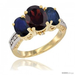 10K Yellow Gold Ladies 3-Stone Oval Natural Garnet Ring with Blue Sapphire Sides Diamond Accent