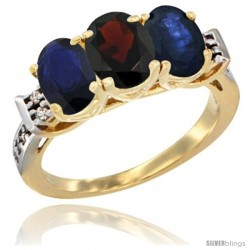 10K Yellow Gold Natural Garnet & Blue Sapphire Sides Ring 3-Stone Oval 7x5 mm Diamond Accent