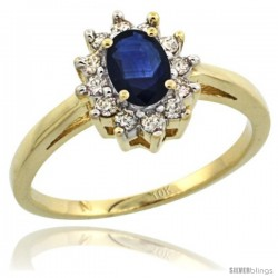 10k Yellow Gold Blue Sapphire Diamond Halo Ring Oval Shape 1.2 Carat 6X4 mm, 1/2 in wide